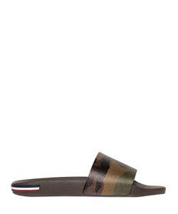 Moncler | Logo Camouflage Leather Slide Sandals