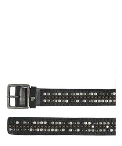 Htc Hollywood Trading Company   35mm Flat Studded Leather Belt