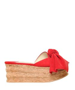 Paloma Barceló | 60mm Platform Bow Suede Cork Sandals
