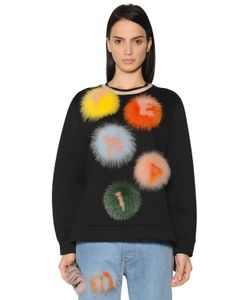 Fendi   Cotton Jersey Sweatshirt W Fur Pompoms