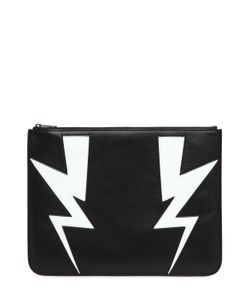 Neil Barrett | Bolts Intarsia Leather Large Pouch