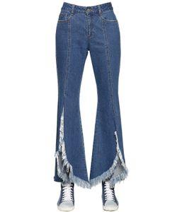 Steve J & Yoni P | Front Slit Frayed Cotton Denim Jeans