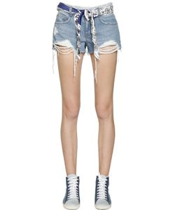 Steve J & Yoni P | Scarf Belt Destroyed Cotton Denim Shorts