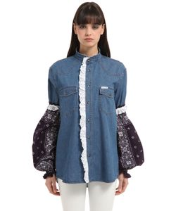 Forte Couture | Cotton Denim Jacket W Bandana Sleeves
