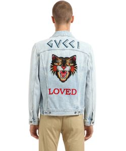 Gucci | Tiger Patch Stone Washed Denim Jacket