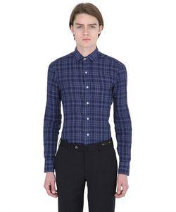Salvatore Piccolo   Slim Fit Checked Linen Denim Shirt