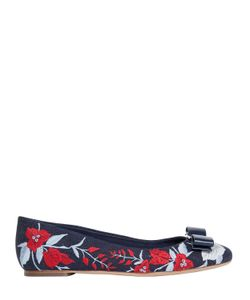 Salvatore Ferragamo | Varina Embroidered Denim Ballerina Flats