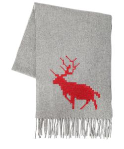 Dsquared2 | Deer Embroidered Wool Cashmere Scarf