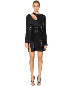 Mugler | Asymmetrical Sequined Crepe Dress