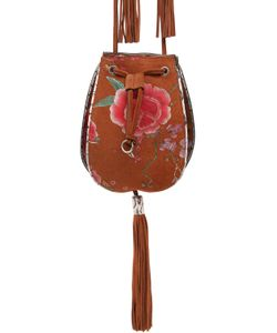 Roberto Cavalli | Roses Suede Snakeskin Bucket Bag