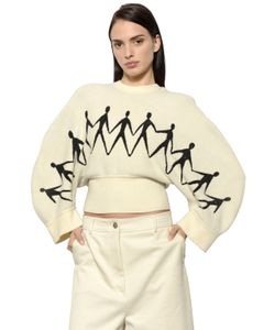 Sportmax | Cropped Chenille Jacquard Knit Sweater