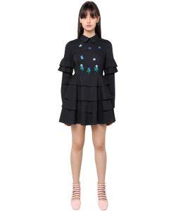 Vivetta | Embroidered Ruffled Cotton Poplin Dress