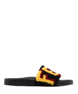 Fendi | Logo Patchwork Shearling Slide Sandals