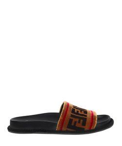 Fendi | 20mm Logo Velvet Slide Sandals