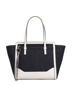 Salvatore Ferragamo | Large Amy Denim Leather Tote Bag