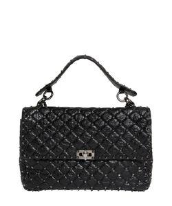 Valentino | Large Spike Crackle Leather Shoulder Bag