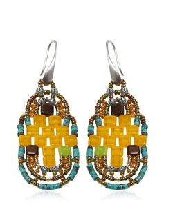 Ziio | Pixel Orange Beaded Earrings