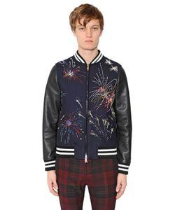 Valentino | Fireworks Wool Leather Jacket