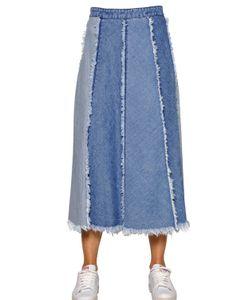 TPN   Paneled Frayed Cotton Denim Skirt