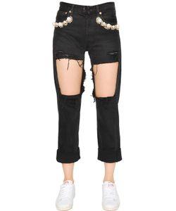 Forte Couture | Embellished Cotton Denim Jeans