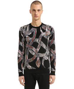 Roberto Cavalli   Snakes Wool Blend Jacquard Sweater