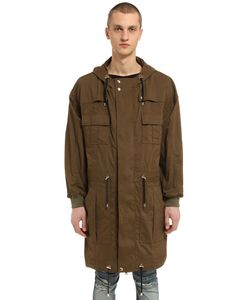 Balmain | Multi Pocket Hooded Cotton Canvas Parka