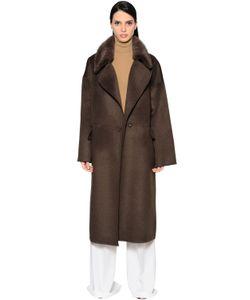 Yves Salomon   Oversized Wool Blend Coat W Mink Fur