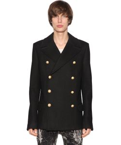 Balmain | Double Breasted Wool Cloth Coat