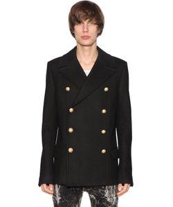 Balmain | Double Breasted Wool Cloth Coat