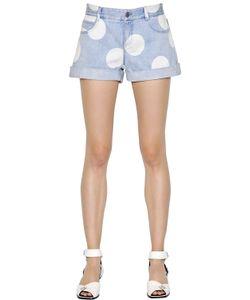 Stella McCartney | Polka Dot Printed Stretch Denim Shorts