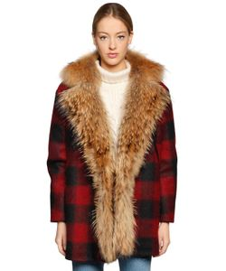 Forte Couture | Aspen Fur Check Wool Blend Coat