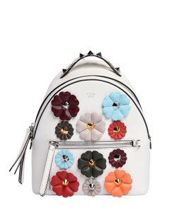 Fendi   Mini Flower Appliqués Leather Backpack