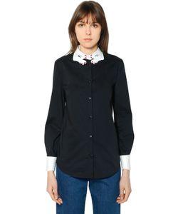 Vivetta | Embroidered Collar Cotton Poplin Shirt