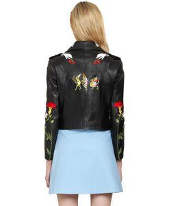 Vivetta | Embroide Grained Leather Biker Jacket