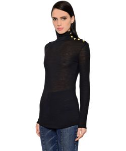 Balmain | Buttons Turtleneck Wool Sweater