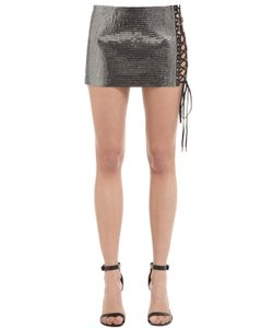 Anthony Vaccarello | Beaded Lace-Up Cotton Jersey Mini Skirt