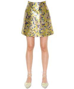 Delpozo   Printed Lurex Mini Skirt