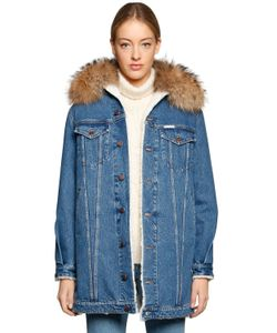 Forte Couture | Fur Collar Denim Faux Shearling Coat