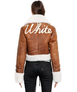 Off-White | Embroidered Cropped Shearling Jacket