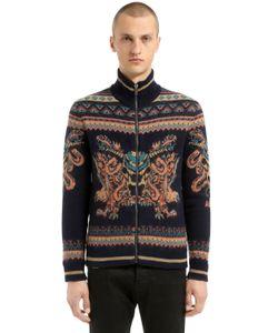 Roberto Cavalli   Zip-Up Wool Jacquard Knit Cardigan