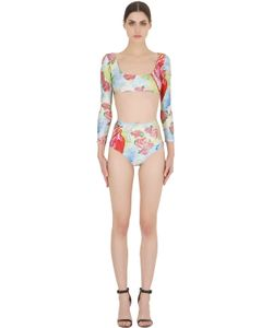 ADRIANA DEGREAS | Heart Printed Lycra Two Piece Swimsuit