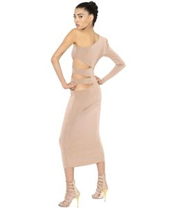 Balmain | One Shoulder Cutout Viscose Knit Dress