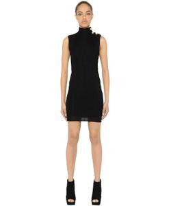 Balmain | Ribbed Knit Dress W Colored Buttons