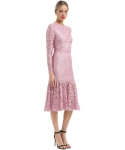 Dolce & Gabbana | Hem Macramé Lace Dress With Ruffled