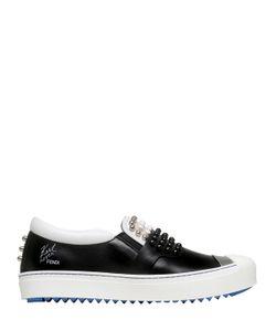Fendi | Karl Studded Leather Slip-On Sneakers