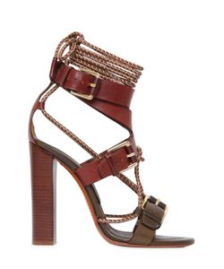 Etro | 105mm Rope Leather Bi Color Sandals