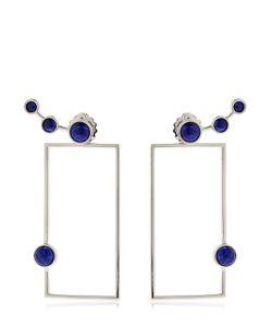 Eshvi   Lava Sodalite Geometric Earrings