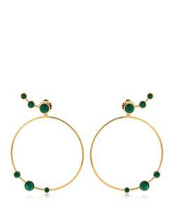 Eshvi | Lava Malachite Circle Earrings