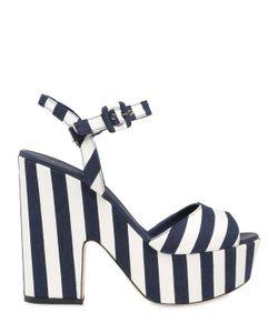 LE SILLA | 130mm Striped Canvas Platform Sandals