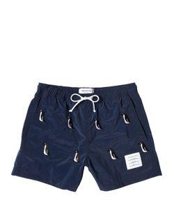 Thom Browne | Nylon Swim Shorts W/Penguin Embroidery